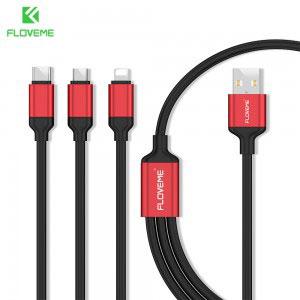 Комбиниран кабел за зареждане/данни Floveme 3 в 1, USB C - Micro USB B - Apple Lightning