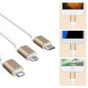 Комбиниран кабел за зареждане/данни Floveme 3 в 1, USB C – Micro USB B – Apple Lightning
