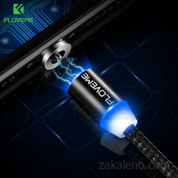Магнитен кабел за зареждане Floveme, USB 2.0 A – Apple Lightning