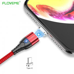Магнитен кабел за зареждане/данни Floveme, USB 2.0 A – USB Type C