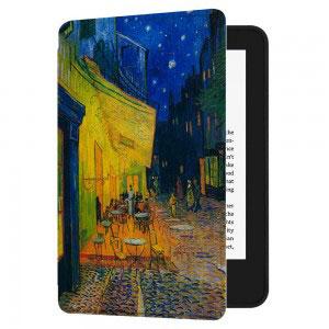 Кожен калъф за Amazon Kindle Paperwhite 1, 2, 3 - Кафе тераса през нощта