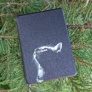 Кожен калъф за Amazon Kindle Paperwhite 1, 2, 3 - Самотна котка