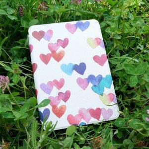 Кожен калъф за Amazon Kindle Paperwhite 1, 2, 3 - Дъжд от сърца