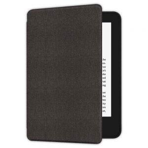 Кожен калъф за Amazon Kindle Paperwhite 1, 2, 3 - Тъмносива текстура