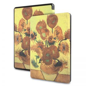 Кожен калъф за Amazon Kindle Paperwhite 1, 2, 3 - Слънчогледите