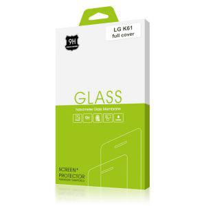 Стъклен протектор за LG K61 (черна рамка с цяло лепило)