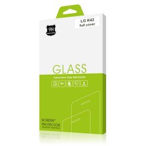 Стъклен протектор за LG K42 (черна рамка с цяло лепило)