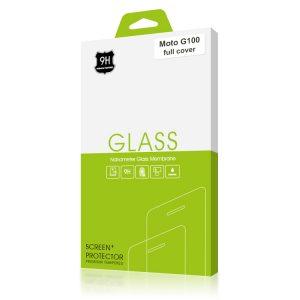 Стъклен протектор за Motorola Moto G100 (черна рамка с цяло лепило)