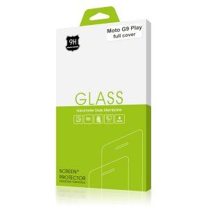 Стъклен протектор за Motorola Moto G9 Play (черна рамка с цяло лепило)