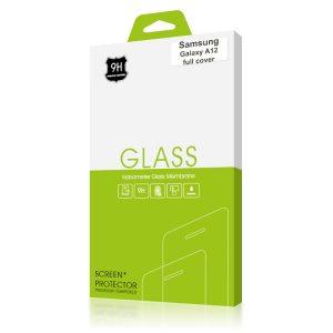 Стъклен протектор за Samsung Galaxy A12 (черна рамка с цяло лепило)