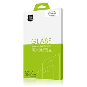 Стъклен протектор за Samsung Galaxy S21 (черна рамка с цяло лепило)