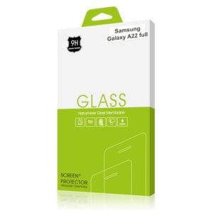 Стъклен протектор за Samsung Galaxy A22 4G (черна рамка с цяло лепило)